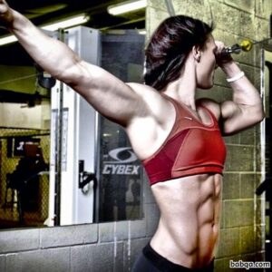 perfect woman with muscular body and muscle arms photo from insta