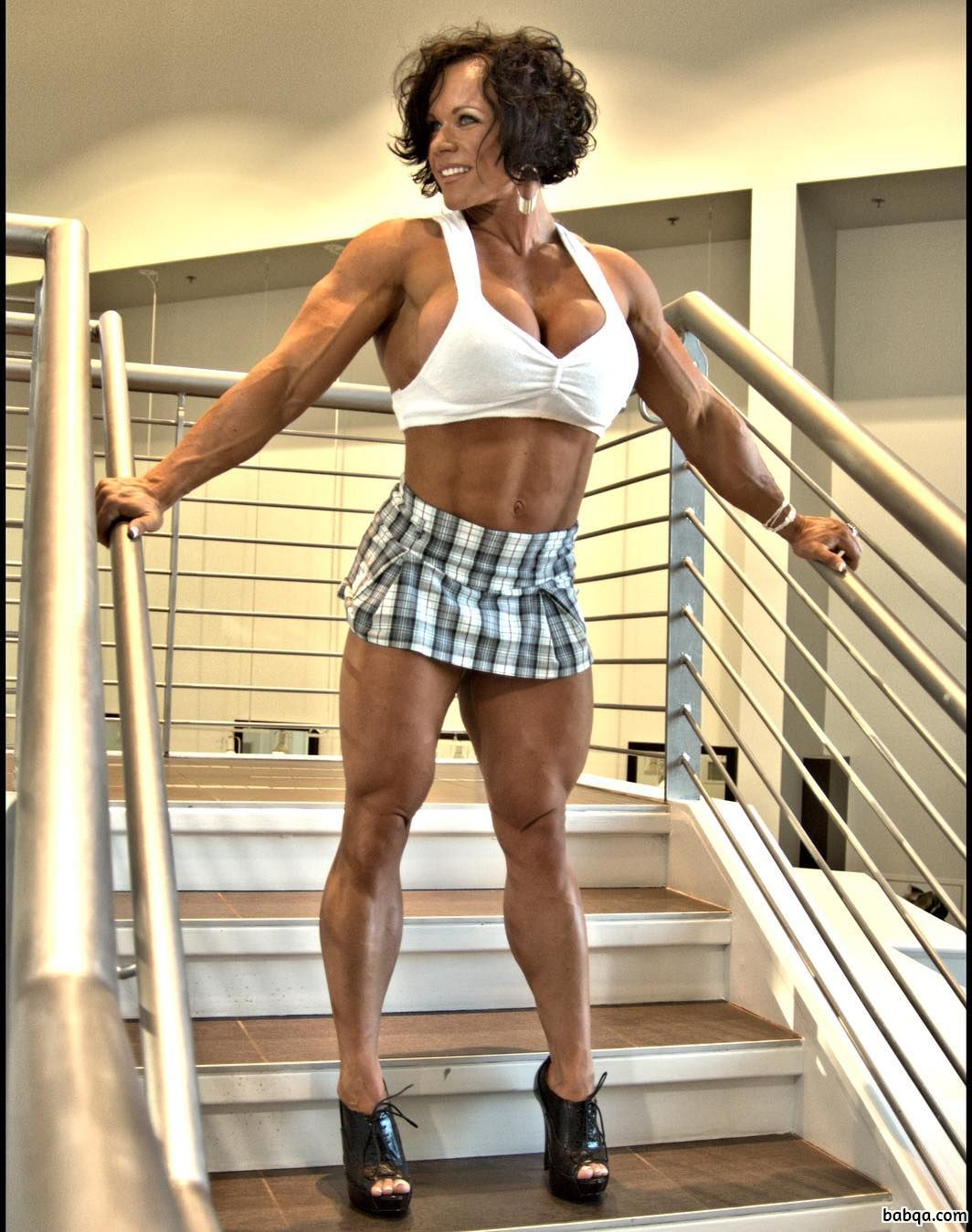 spicy woman with fitness body and muscle arms picture from tumblr