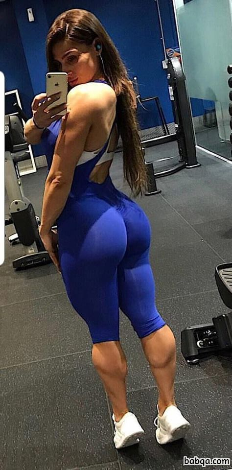 cute woman with fitness body and muscle bottom post from facebook