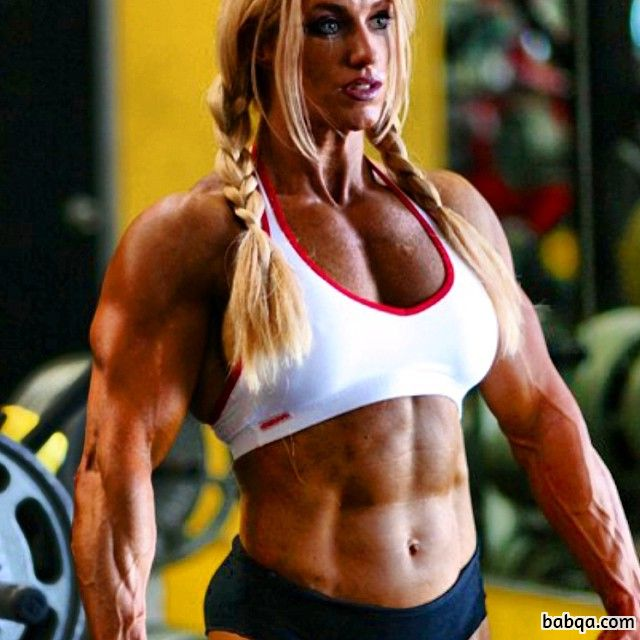 perfect woman with muscle body and toned biceps repost from instagram