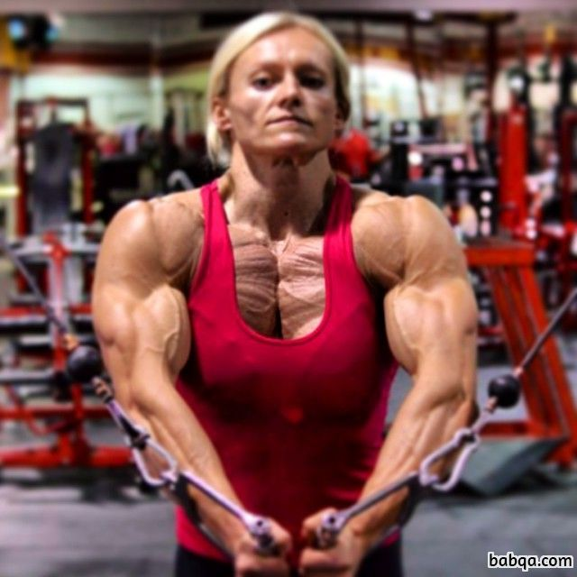 awesome babe with strong body and muscle biceps post from tumblr