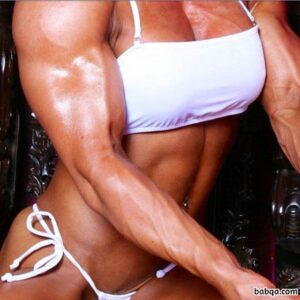 spicy woman with fitness body and muscle bottom image from g+