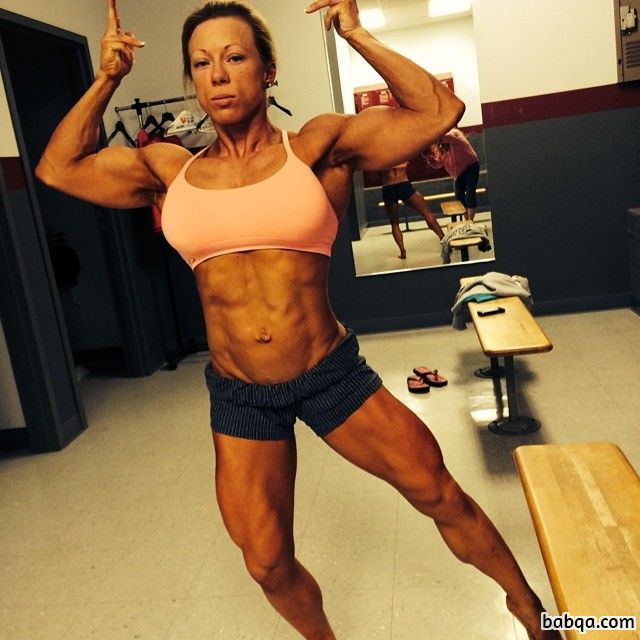 awesome lady with fitness body and muscle arms repost from insta