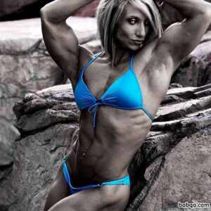 beautiful girl with strong body and muscle biceps post from instagram