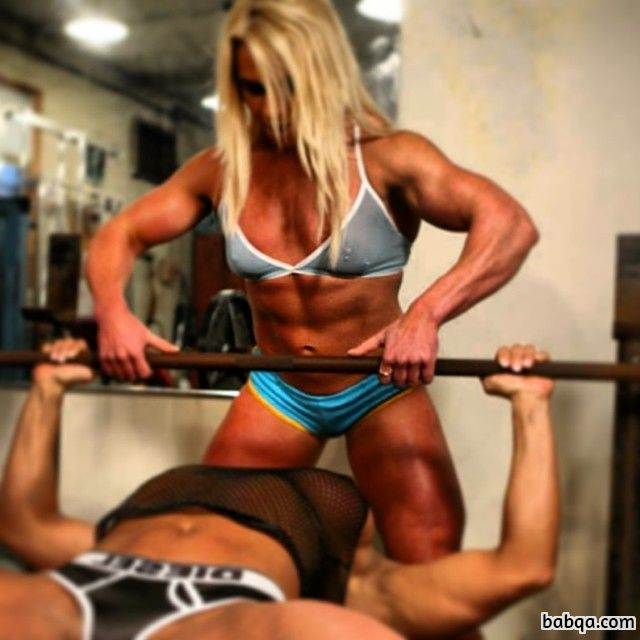 cute female with muscle body and toned biceps repost from facebook