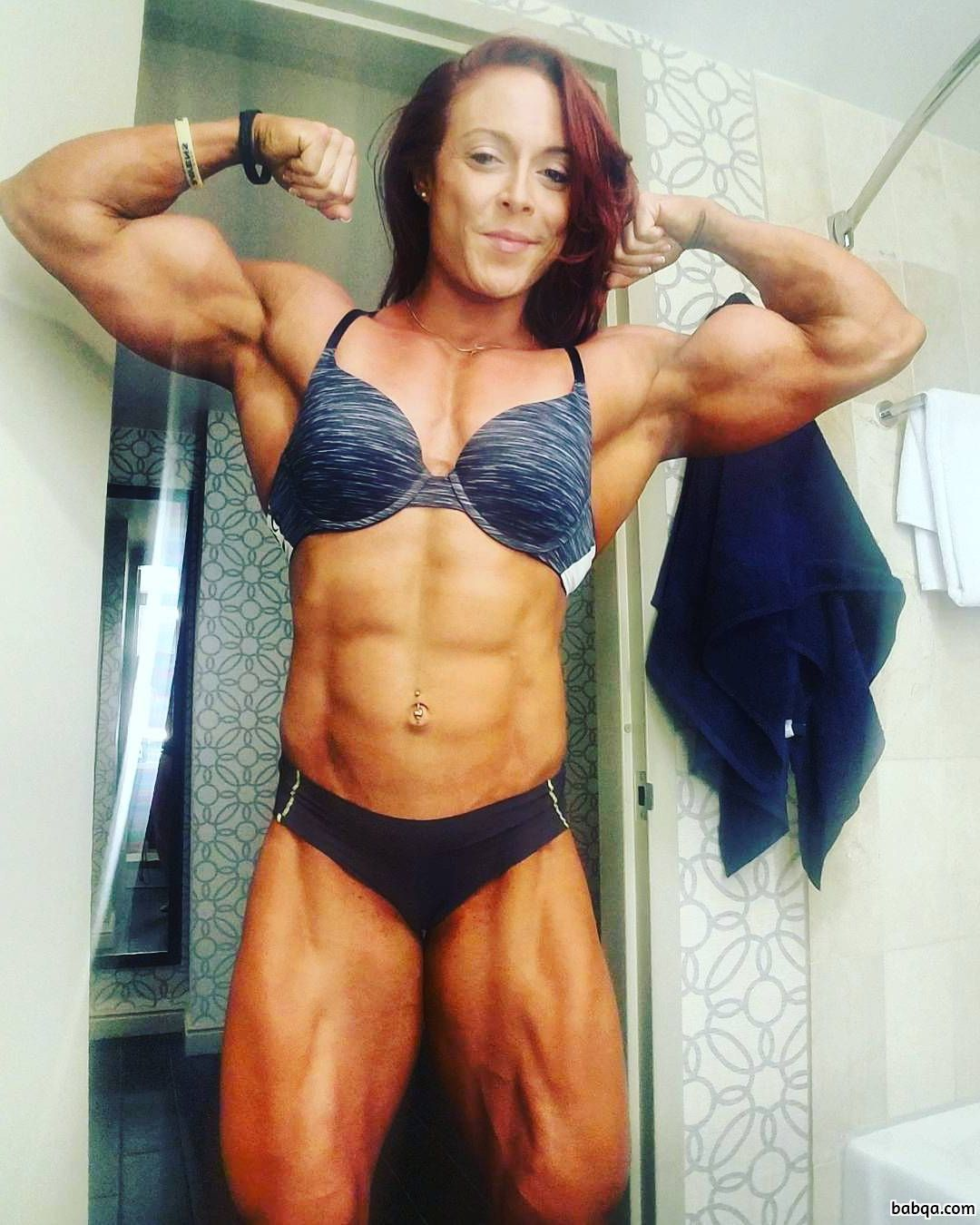 awesome chick with muscular body and toned arms repost from insta