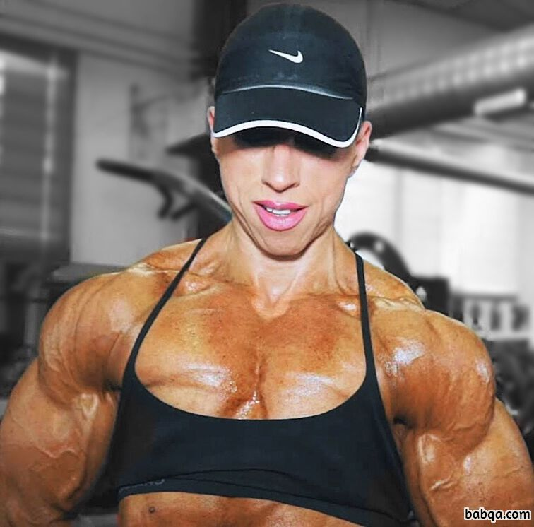 awesome woman with fitness body and muscle biceps pic from reddit