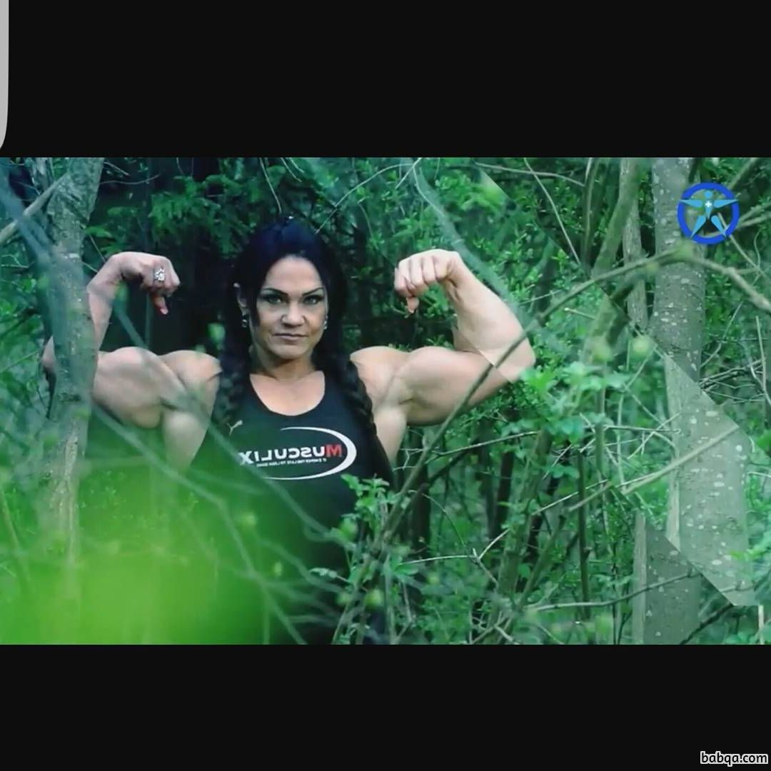 awesome female with muscular body and muscle biceps repost from g+