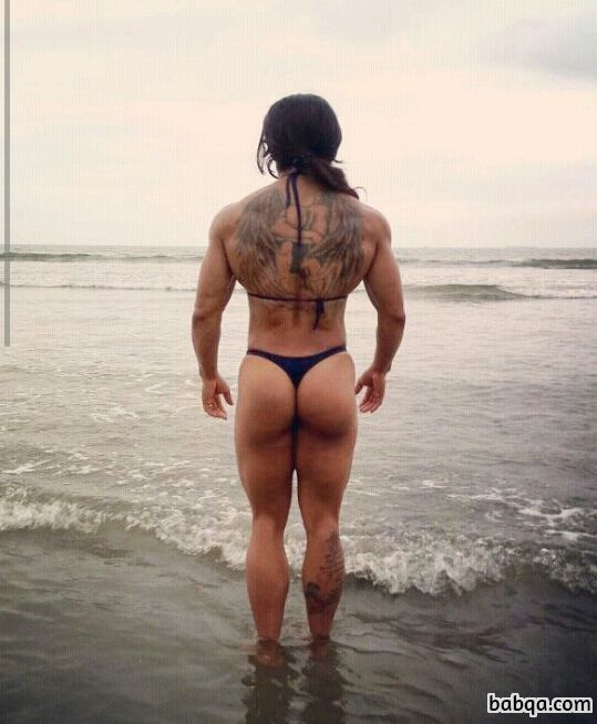 hot female bodybuilder with muscular body and muscle arms picture from facebook