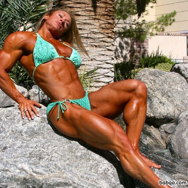 beautiful girl with fitness body and muscle arms repost from flickr