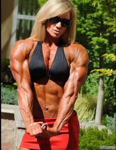 beautiful girl with fitness body and toned biceps repost from linkedin