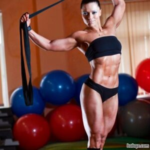 spicy lady with fitness body and muscle legs repost from flickr
