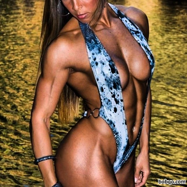 spicy girl with fitness body and muscle biceps image from g+