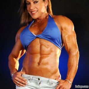 hot woman with muscular body and toned biceps post from g+