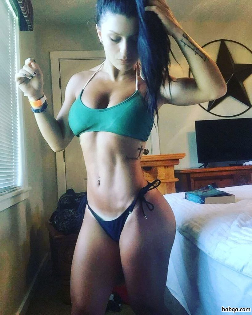 perfect babe with fitness body and muscle legs repost from instagram