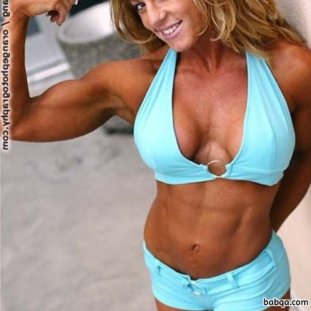 hot chick with strong body and toned biceps pic from linkedin