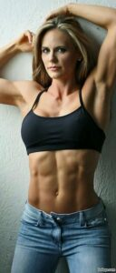 awesome chick with muscle body and toned arms repost from tumblr