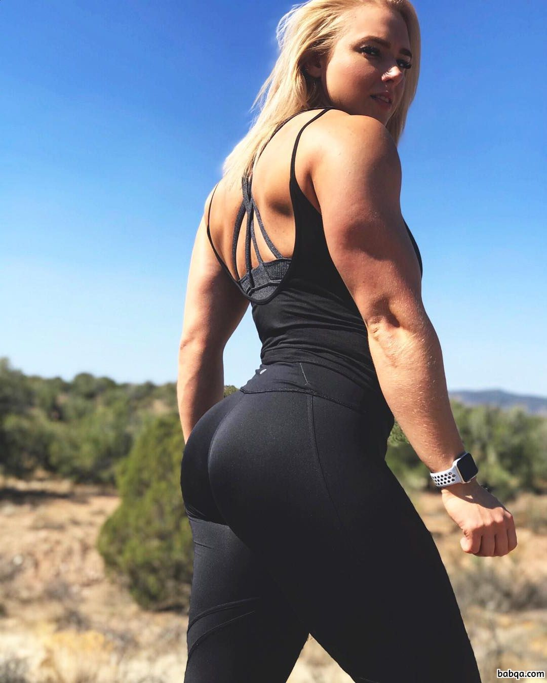 beautiful woman with strong body and toned biceps repost from instagram