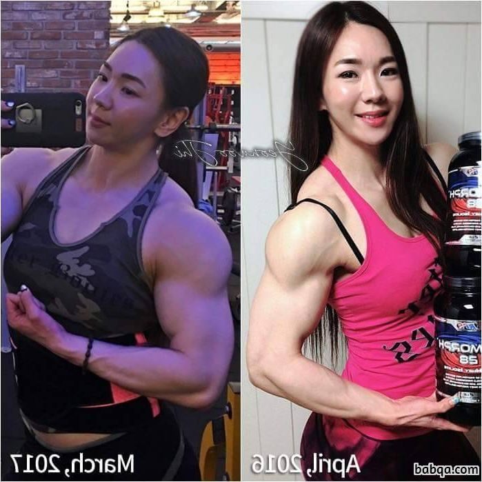 spicy chick with muscle body and muscle biceps photo from g+
