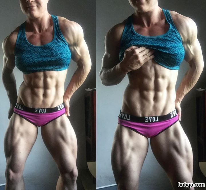 cute chick with muscular body and muscle legs pic from linkedin