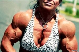 spicy female bodybuilder with muscular body and muscle booty image from instagram