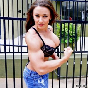 sexy female bodybuilder with muscle body and toned biceps pic from instagram