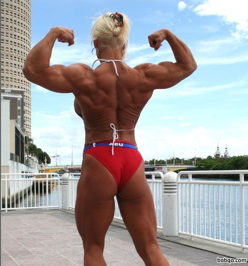cute female with muscular body and muscle arms image from g+