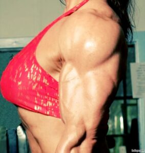 cute babe with muscular body and muscle biceps photo from facebook