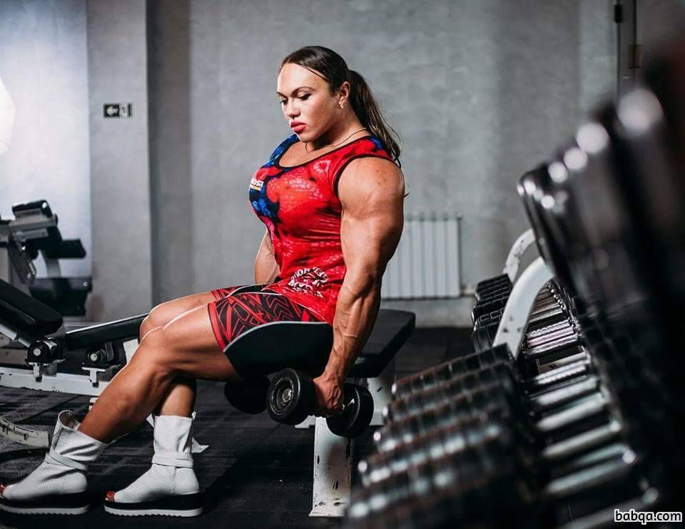 beautiful woman with muscular body and toned biceps photo from instagram