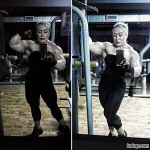 awesome lady with muscle body and toned arms pic from linkedin