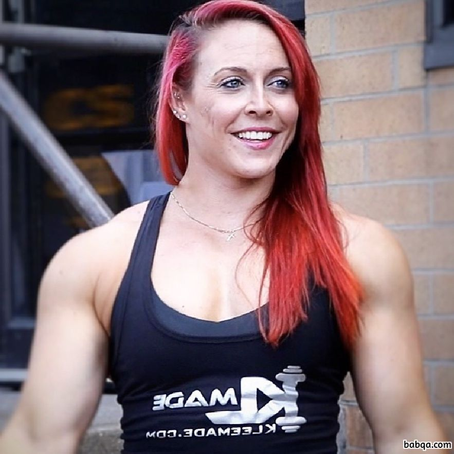 spicy female bodybuilder with muscular body and muscle arms post from linkedin