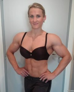 awesome female bodybuilder with muscular body and muscle bottom post from linkedin