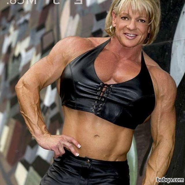 sexy female with muscular body and muscle biceps post from flickr