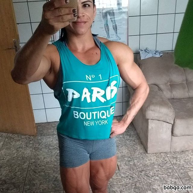 beautiful woman with strong body and muscle biceps image from insta