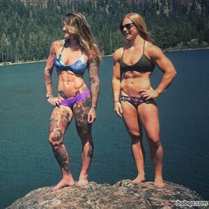 hottest girl with muscular body and muscle legs image from insta