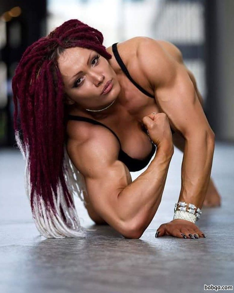 beautiful female with fitness body and muscle biceps pic from instagram