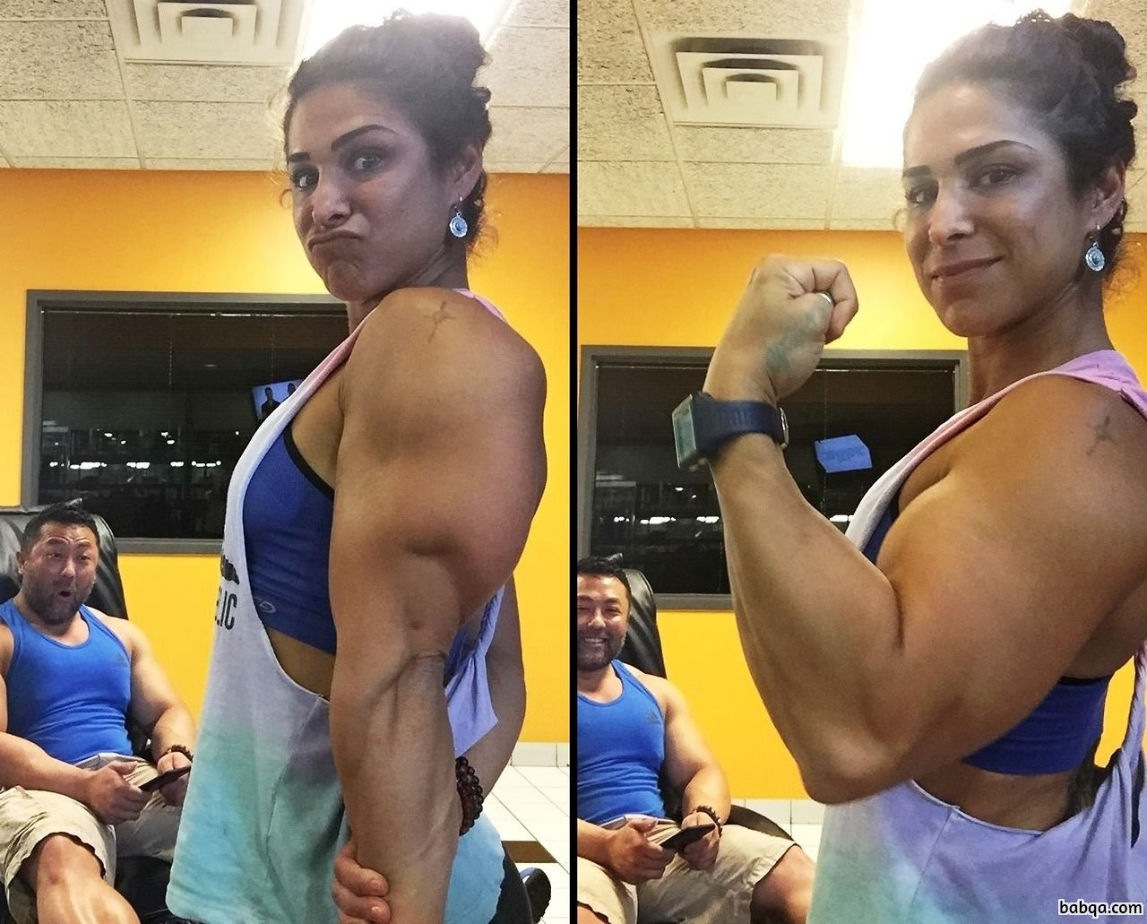 hot female bodybuilder with strong body and muscle arms repost from reddit