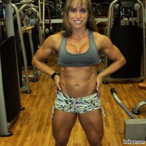 awesome chick with strong body and muscle biceps photo from instagram