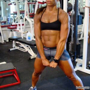 awesome girl with fitness body and muscle legs pic from g+