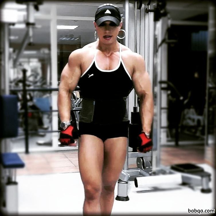 cute female bodybuilder with muscular body and muscle arms picture from facebook
