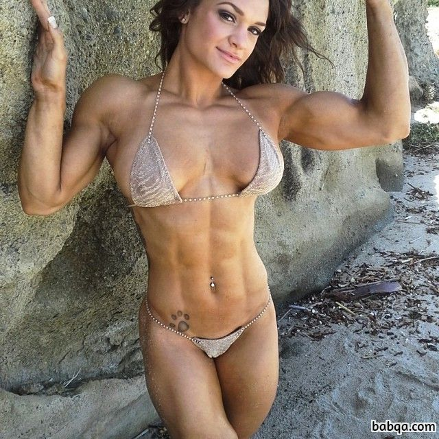 beautiful female with strong body and muscle arms post from facebook