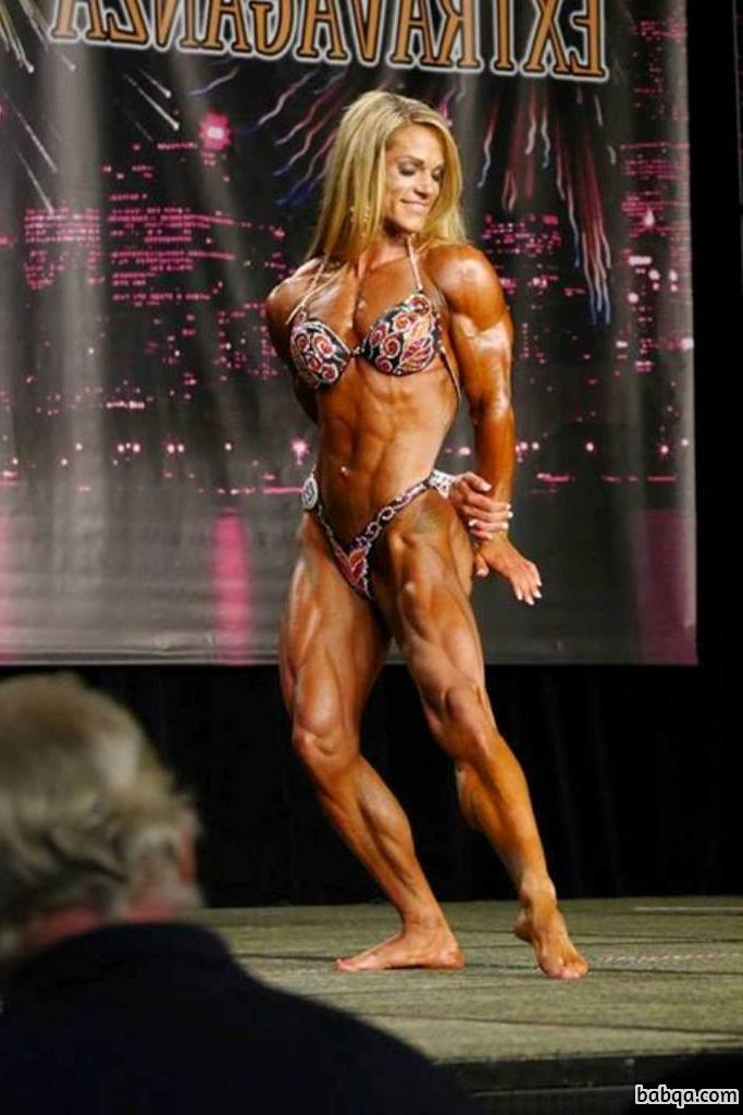 sexy lady with muscle body and muscle biceps picture from linkedin