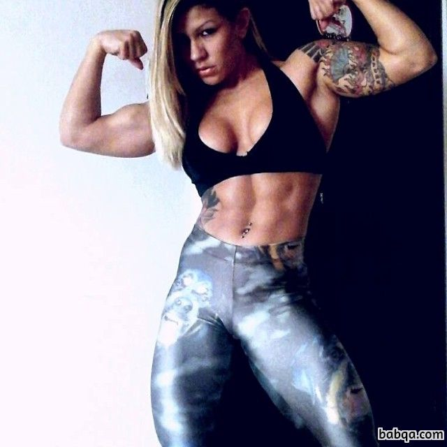 cute female with muscular body and muscle ass image from g+