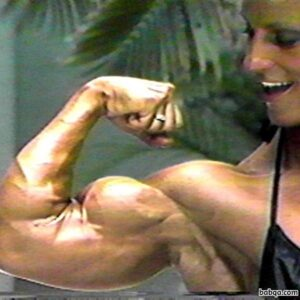 perfect female bodybuilder with strong body and muscle biceps repost from instagram
