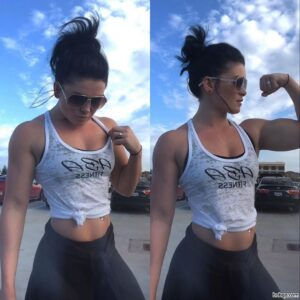 sexy female bodybuilder with strong body and toned arms image from facebook