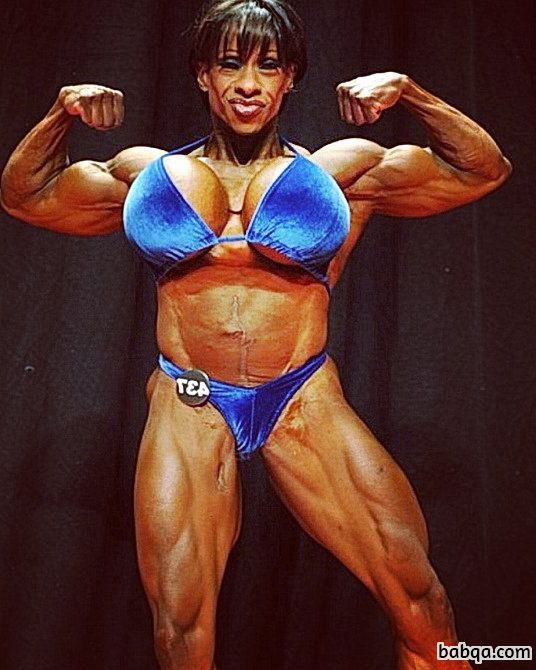 hottest female bodybuilder with strong body and muscle arms repost from flickr
