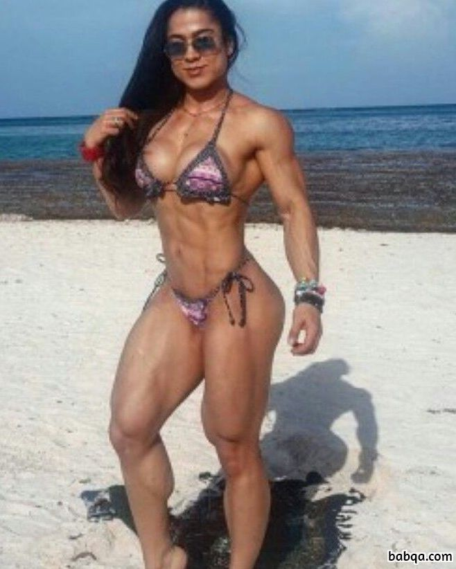 sexy female bodybuilder with muscle body and toned bottom repost from facebook