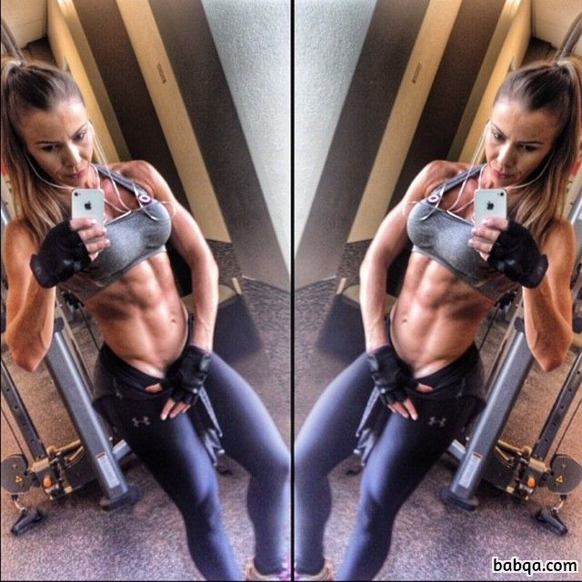 cute woman with muscle body and muscle biceps image from tumblr