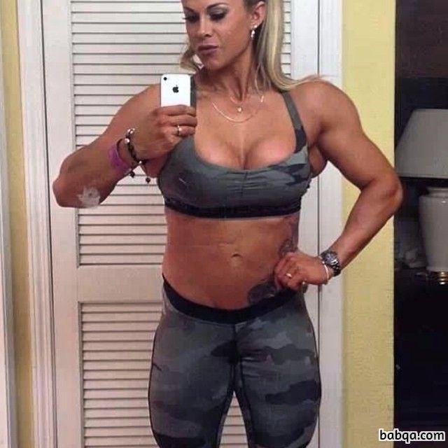 hottest woman with muscle body and muscle bottom photo from instagram