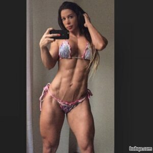 perfect woman with muscle body and muscle biceps photo from instagram